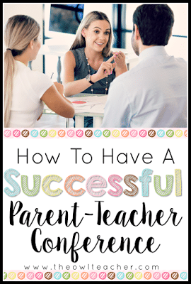 Ideas and tips on how to have a successful parent teacher conference for the elementary teacher!