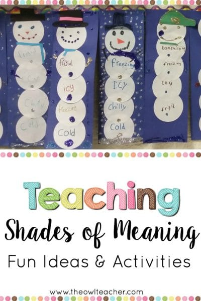 Teach shades of meaning in your elementary classroom with these engaging ideas and activities.  Help your students understand the various degrees of synonyms.