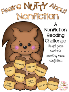 I wanted my students to be exposed to many different types of nonfiction and start reading it more - especially with the common core standards requiring it. That's when I decided to create this reading challenge freebie to engage them into reading nonfiction more! Check out this reading idea for your elementary classroom!
