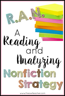Do you hate the KWL chart? Me too! That's why I use this RAN Chart with every opportunity I get, because I think it's a much better nonfiction strategy! Click through to read how the RAN - Reading and Analyzing Nonfiction - chart works.