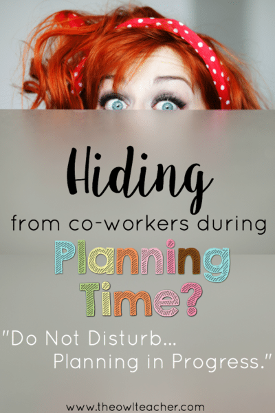 Do you find yourself hiding from chatty coworkers during your planning time? It might seem rude, but it's not at all rude to close your door and get to work, because your work time is, well, work time! This post shares a few ways - some humorous, some serious - that you can head off chatty coworkers to help you actually get some work done during your planning time.