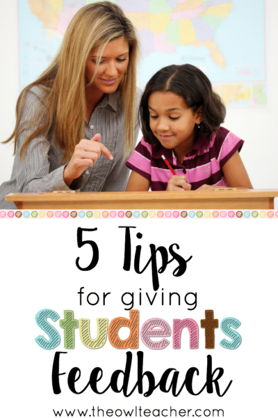 Giving students feedback does not simply mean focusing on critiques for the students; it also means letting students know what they're doing well. This blog post shares five tips for giving effective and helpful feedback to students, so click through to get all of the tips.