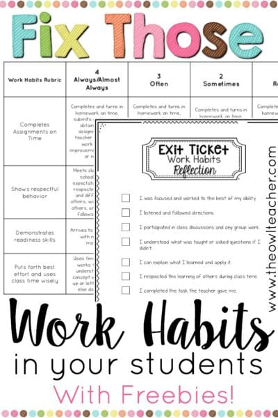 Every year, teachers seem to be taken by surprise by some of their students' work habits. Sometimes, kids just really have never been taught work habits! I share several tips for correcting this problem, as well as a couple of freebies that you can download and start using right away, in this post.