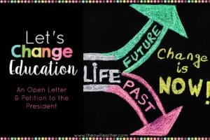 It's time for American educators to come together to work to change education. The education in the United States fails to meet the needs of both teachers and students, and something needs to be done about it. Read my open letter to the president and to the Secretary of Education, and then sign the petition I started, if you feel so inclined.