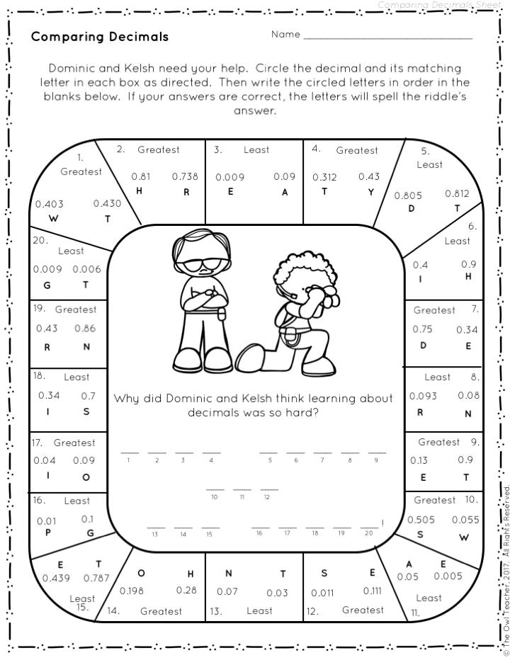 5th grade math lesson plans decimal place value