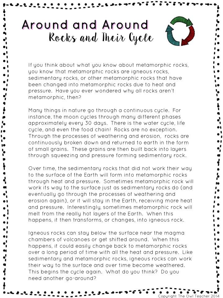 Rocks and Minerals Unit The Owl Teacher – Metamorphic Rocks Worksheet