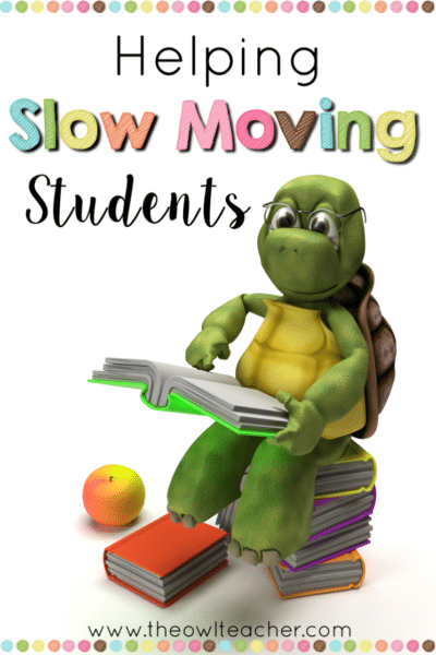 """Do you have slow moving students? These slow learners can really make teaching frustrating, especially when you aren't sure what to do. These strategies help teachers with their """"turtles"""" without having to fail them in the process."""